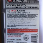 Kendall GT-1 Full Synthetic Motor Oil with Liquid Titanium 5w-20 back