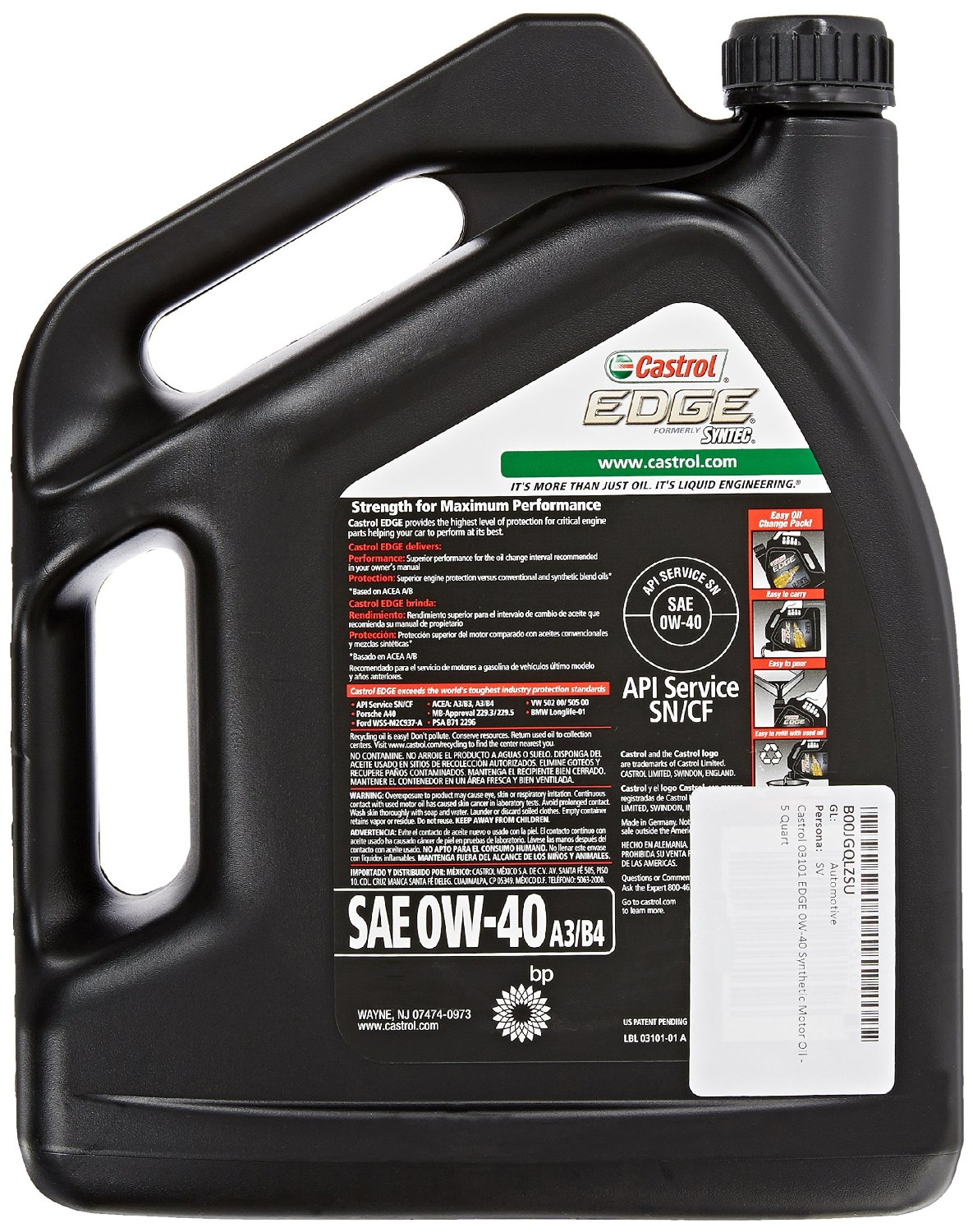 castrol edge 0w 40 usa synthetic motor oil 03101 4 73. Black Bedroom Furniture Sets. Home Design Ideas